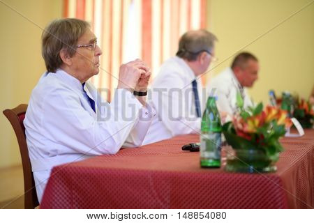 MOSCOW - MAY 19, 2015: Academician A. Konovalov at the press conference for the journalists in the Burdenko Institute of Neurosurgery in Moscow
