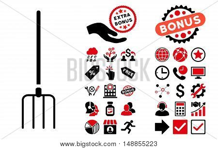 Pitchfork icon with bonus images. Vector illustration style is flat iconic bicolor symbols intensive red and black colors white background.