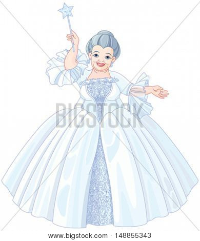 Illustration of very cute fairy godmother are holding magic wand