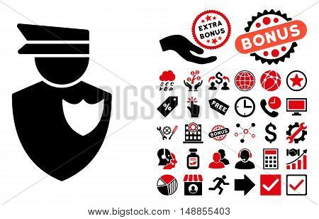 Policeman icon with bonus images. Vector illustration style is flat iconic bicolor symbols intensive red and black colors white background.