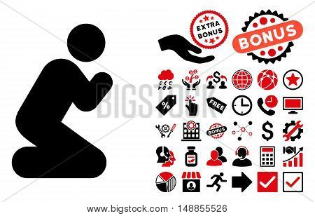 Pray Pose pictograph with bonus elements. Vector illustration style is flat iconic bicolor symbols intensive red and black colors white background.