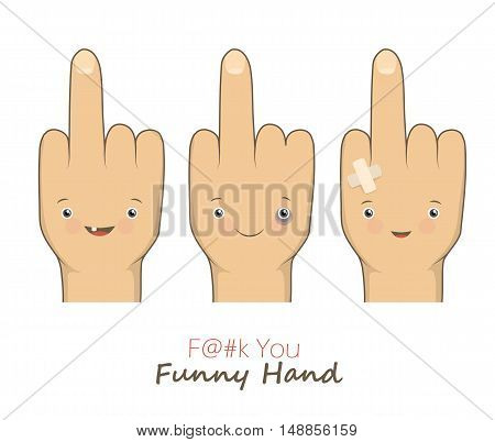 Vector cartoon middle fingers with angry emotion faces. Provocation gesture symbol expression rudeness. Funny obscene concept. Vector illustration isolated on white backgroung.