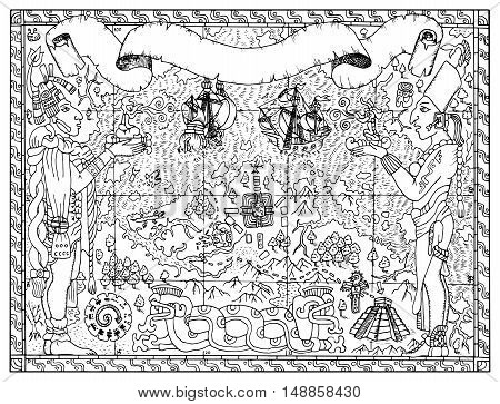 Mayan, aztec or pirate map with two gods, ships and fantasy land. Hand drawn vector illustration for adult or kids coloring book. Vintage adventures, treasures hunt and old transportation concept