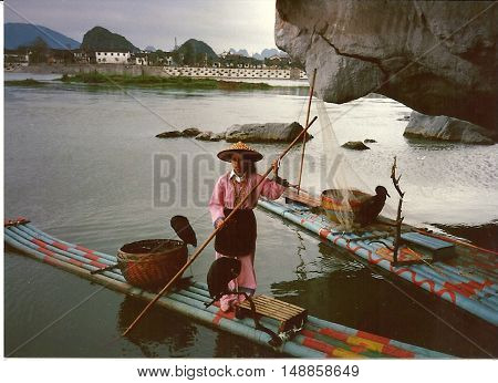 GUILIN / CHINA - CIRCA 1987: A woman in a pink dress stands on a raft with  great cormorants (Phalacrocorax carbo) on the Li River in Guilin.