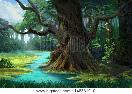 An Ancient Tree in the Forest by the Riverside. Video Game's Digital CG Artwork, Concept Illustration, Realistic Cartoon Style Background