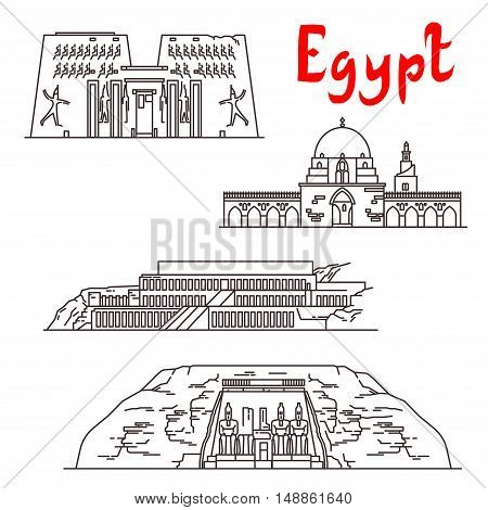 Historic landmarks, sightseeings, famous showplaces of Egypt. Vector thin line icons of Karnak Temple, Mosque of Ibn Tulun, Deir el-Bahari, Abu Simbel for souvenir decoration elements poster