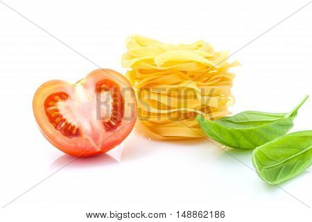 Italian Food Concept Fettuccine With Tomato And Sweet Basil Isolate On White Background. Fettuccine