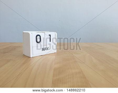 May 1St.may 1 White Wooden Calendar On Vintage Wood Abstract Background.spring Day.copyspace For Tex