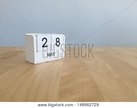 May 28Th.may 28 White Wooden Calendar On Vintage Wood Abstract Background.spring Day.copyspace For T