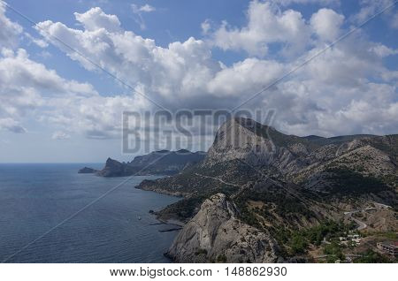 Beautiful Seascape View With Black Sea Bay And Mountain From The Old Genoese Fortress In Sudak In Cr