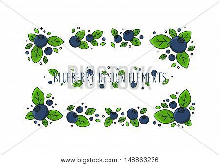 Blueberry line art vector illustration. Blueberry design elements creative concept. Graphic design for poster banner placard. Template layout with text and berries.