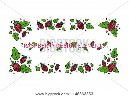 Raspberry line art vector illustration. Raspberry design elements creative concept. Graphic design for poster banner placard. Template layout with text and berries.