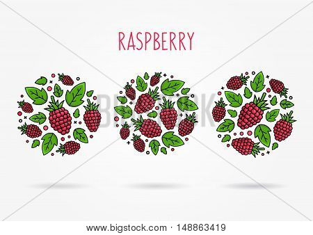 Raspberry line art vector illustration. Raspberry round labels creative concept. Graphic design for poster banner placard. Template layout with text and berries.