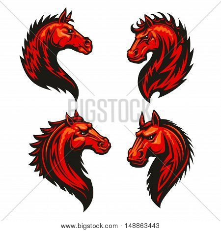 Fire horse head with thorny prickly mane. Stylized heraldic icons of furious flaming stallion. Mustang emblem symbol for sport club, team badge, label, tattoo