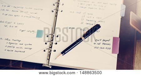 Organize Notebook Memo Reminder Assignment Concept