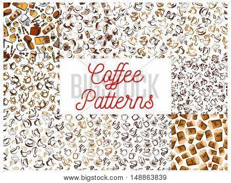 Coffee seamless pattern backgrounds. Wallpapers with vector icons of coffee cup, coffee maker, vintage coffee mill, retro coffee grinder, moka pot, milk pitcher, coffee beans, sweet syrup