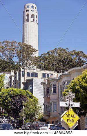 San Francisco neighborhood near Coit tower California.
