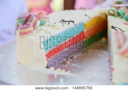 Homemade rainbow cake slice, soft selective focus