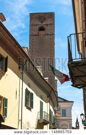 Alba,Italy,Europe - May 3, 2016 : View of Bonino Tower from via Cavour in Alba