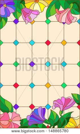Illustration in stained glass style with abstract flowers on a beige background
