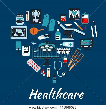 Medical infographic poster background in heart shape. Vector symbols and icons of health care equipment and therapy dentist chair, surgery operation table, pills, sonography, stethoscope, tonometer