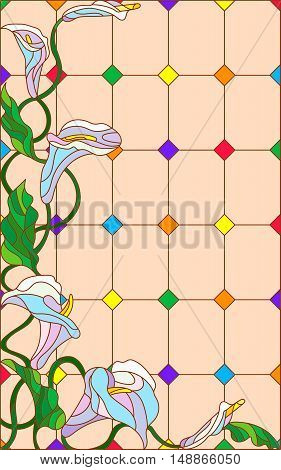 Illustration in stained glass style with flowers buds and leaves of Calla flower on a beige background