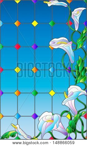 Illustration in stained glass style with flowers buds and leaves of Calla flower against the sky