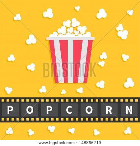 Popcorn popping. Big film strip line with text. Red white box. Cinema movie night icon in flat design style. Yellow background. Vector illustration