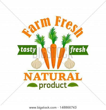 Carrot and garlic. Farm fresh vegetable product emblem. Premium healthy vegan food icon with green ribbon and leaves. Vector vegetable label for vegetarian product sticker, grocery farm store, packaging