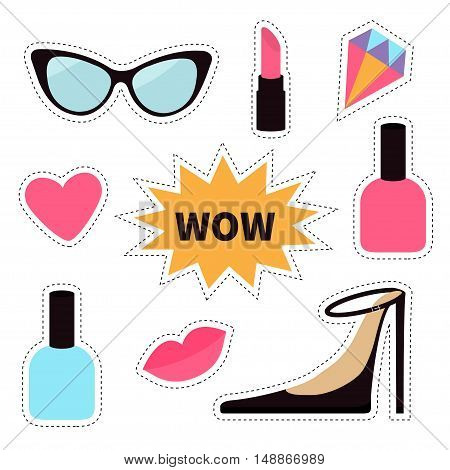 Quirky cartoon sticker patch badge set. Fashion pin. Lipstick heart wow text bubble star diamond shoes lips sunglasses nail polish Dash line contour. Isolated. White background. Flat Vector