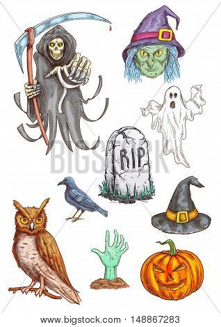 Isolated vector pumpkin, witch hat, spooky ghost, death reaper, zombie hand, RIP grave stone, black crow. Halloween Party invitation card and poster sketched elements, icons and traditional characters