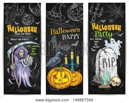 Halloween Party Trick or Treat chalk sketch design on blackboard. Sketched colored chalk Halloween celebration elements of pumpkin, scary reaper, spooky ghost, witch hat, bat, black cat, cemetery tomb