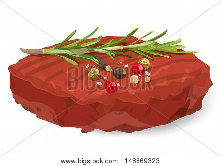 Raw Ground organic beef meat Burger steak cutlet seasoning salt various pepper with fresh rosemary herb twig sprig. Vector vertical closeup beautiful side view sign illustration on white background