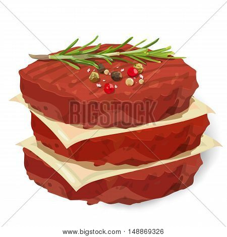 Raw Ground 3 organic beef meat Burger steak cutlet stack season salt pepper fresh rosemary herb separated parchment. Vector vertical closeup beautiful side view sign illustration on white background