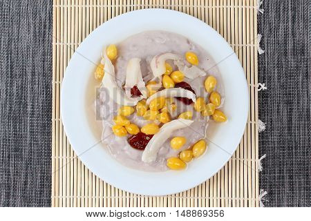 """Neal ginkgo as sweet mashed taro,ginkgo wrap sticky rice in coconut milk topped chinese monkey apple,coconut roll and sweet cream is dessert  for  Vegetable festival of Chinese as """"J food festival"""""""