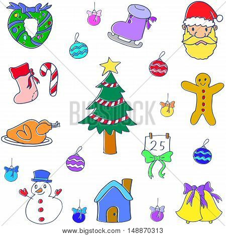 Christmas set of doodle vector collection stock