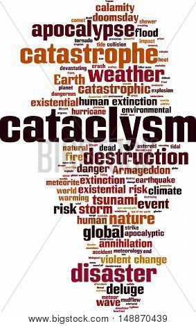 Cataclysm word cloud concept. Vector illustration on white