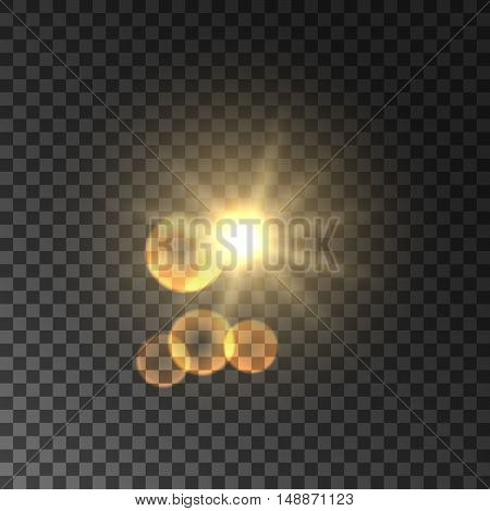 Golden sun light with lens flare effect. Glowing magic light flash. Glittering star bokeh. Sunshine on transparent background