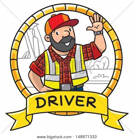 Emblem with funny driver or worker. A man dressed in a plaid shirt, vest with reflective stripes and jeans Profession series. Childrens vector illustration.