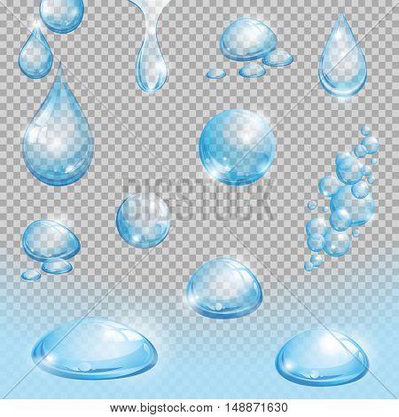 Set of transparent water drops. Set of water design elements. Vector illustration.