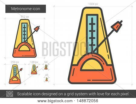 Metronome vector line icon isolated on white background. Metronome line icon for infographic, website or app. Scalable icon designed on a grid system.