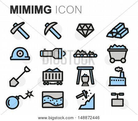 Vector flat line mining icons set on white background
