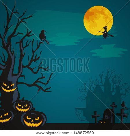 Halloween design - Forest pumpkins on cemetery. Horror background with autumn valley with woods, spooky tree, pumpkins.Space for Halloween holiday text. Halloween background witch flying on broomstick