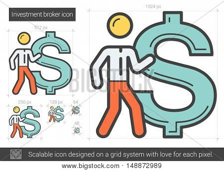 Investment broker vector line icon isolated on white background. Investment broker line icon for infographic, website or app. Scalable icon designed on a grid system.