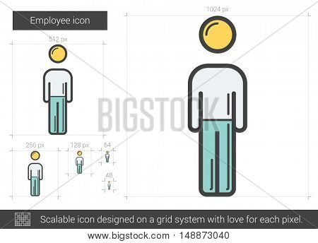 Employee vector line icon isolated on white background. Employee line icon for infographic, website or app. Scalable icon designed on a grid system.