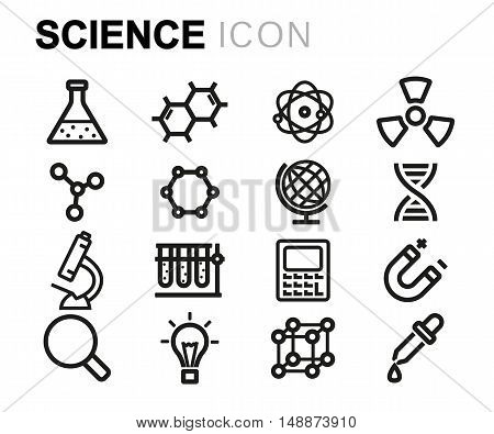 Vector black line science icons set on white background
