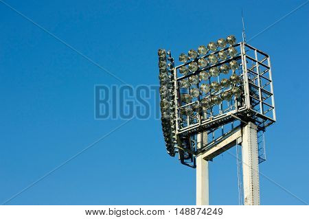 Light Tower Stadium in Clear Blue Sky