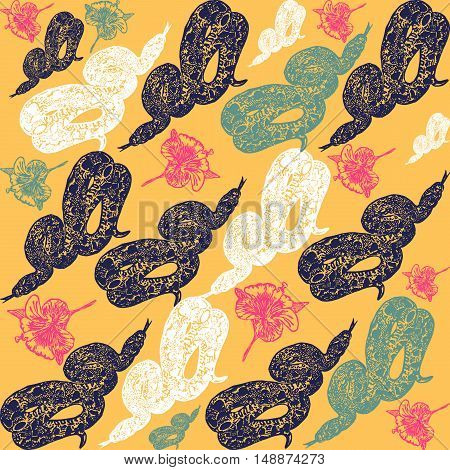 Linocut tropical Boa Constrictor snake background. Vector Illustrated tropical Boa Constrictor snake seamless pattern.