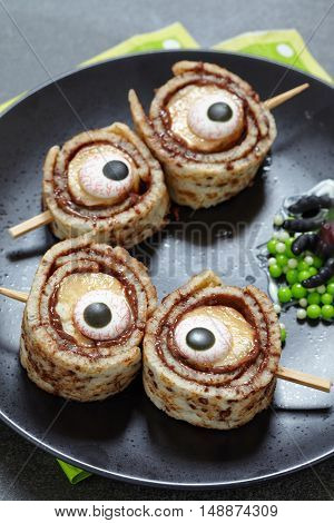 Monster Eyes for Halloween. Crepes roll up with banana