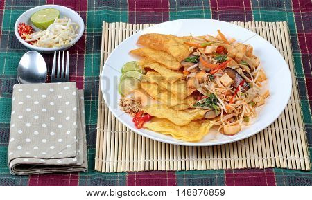 Chinese Vegetable festival  food as crispy wonton with Thai fried mixed vegetable call